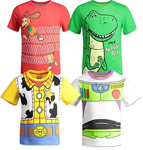 Disney Pixar Toy Story Boys 4 Pack T-Shirts Woody Buzz Lightyear Rex Slinky Dog
