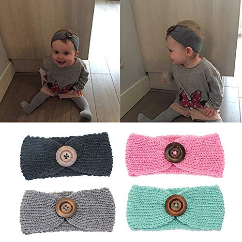 G-Tree G-Baum-4-Pack-Baby-Mädchen-Knopf-Stirnband-Knit-Kopf-Verpackungs geknotete Haar-Band für Baby-Newborn Kleinkinder