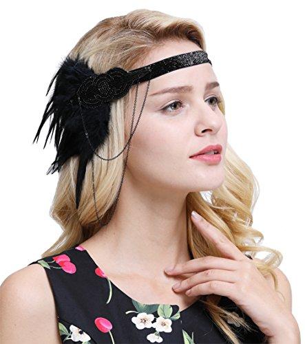 FAIRY COUPLE 1920er Retro Kopfstück Flapper Ketten Blumen Haarband Great Gatsby Haar Zubehör(Alles Schwarz)