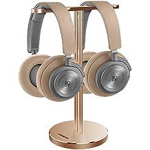 Jokitech Single Dual Universal Universal para auriculares. Soporte genérico para auriculares Soporte para juegos de todo tamaño. Audífonos y auriculares de audio (Gold)
