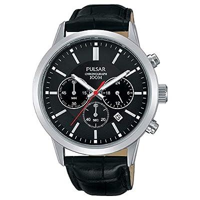 Pulsar Men's Black Leather Strap Watch PT3751X1 de Pulsar