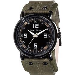 Tokyobay T2065-GR Unisex Edelstahl Archer Grün Lederband Schwarz Zifferblatt Watch