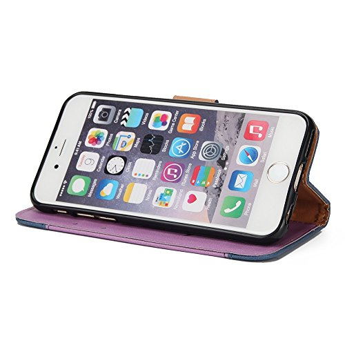 Gemischte Farben Rose Blume matt Premium PU Leder Brieftasche Stand Case Cover mit Lanyard & Card Slots für iPhone 6 und 6s ( Color : Black ) Purple