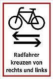 Melis Folienwerkstatt Schild - Rad-verkehr von links und rechts - 45x30cm | stabile 3mm starke PVC Hartschaumplatte – S00050-059-B +++ in 20 Varianten erhältlich