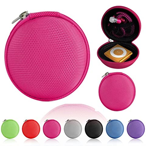 Magic Global Gadgets® Pink Storage Bag Universal Carrying Clamshell Pouch Case Cover For MP3, Earphones, Headphones, iPod Shuffle, iPod Nano 6, Apple Watch Sport, Memory Cards, Gym Use