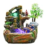 GL&G Chinesische Tabletop Szenen Indoor Brunnen Tischbrunnen Luftbefeuchter Teile, wohnzimmer büro Dekoration Aquarium Kreative Ornamente Sammlerstücke gebäude,26*18*27cm