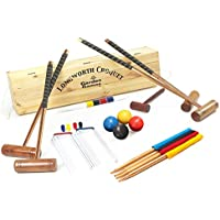 Longworth Croquet Set - Full Sized UPGRADED 4 Player Croquet Set in a Pine Box from Garden Games
