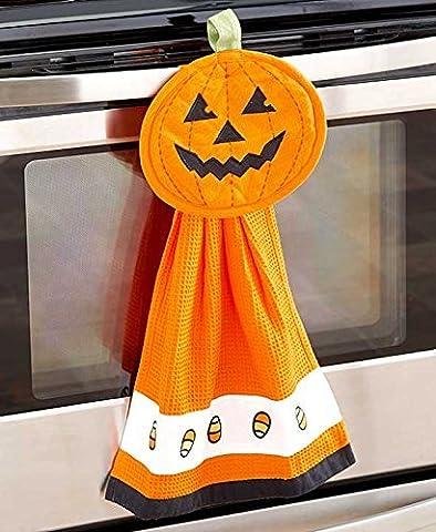 2 Pc Towel & Pot Holder Halloween Kitchen Set (pumpkin) by KNL Store