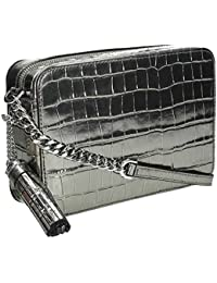 Michael Kors Ginny Metallic Embossed-Leather - Crossbody - Gunmetal - 32F7MGNM2K-041