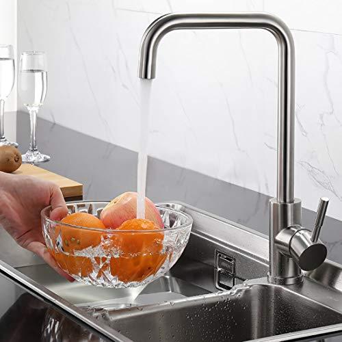 BONADE Rubinetto da cucina In Acciaio Inox, girevole a 360°, Miscelatore Monocomando Rubinetto per lavello rubinetteria
