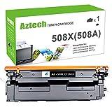 Aztech 1 Pack Kompatibel für HP 508A 508X CF360X Schwarz Toner für HP Color Laserjet Enterprise M553N M553DN M552DN MFP M577 M553 M557 M553X M552