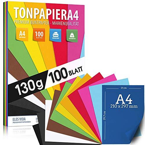 100 Blatt TONPAPIER - Buntes Papier DIN A4-130g/m² Set 10 Farben - Stabil Bastelpapier & Farbige Blätter, Kinder & DIY Bogen, Zubehör zum Basteln für Fotoalbum Geschenke zum Kreativ sein Bedruckbar