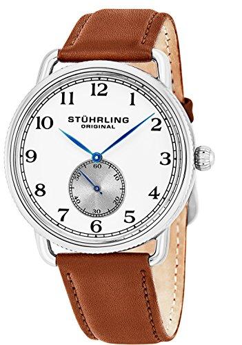 Stuhrling Original 207.01 - Montre Quartz - Affichage Analogique - Bracelet Cuir Beige et Cadran Blanc - Hommes