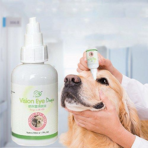 TOPmountain Haustier-Augen-Wäsche Augentropfen für Hunde und Katzen Lindert Augenrötung und Irritationen von Allergien Tear Stain Cleaner (Augenrötung)