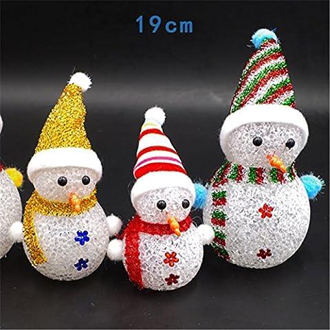 pygex (TM) 3pezzi 19cm colorful Flash Natale pupazzo di neve Babbo Natale LED luce notturna con Hang Corda Regalo Vacanza decorazioni Natale