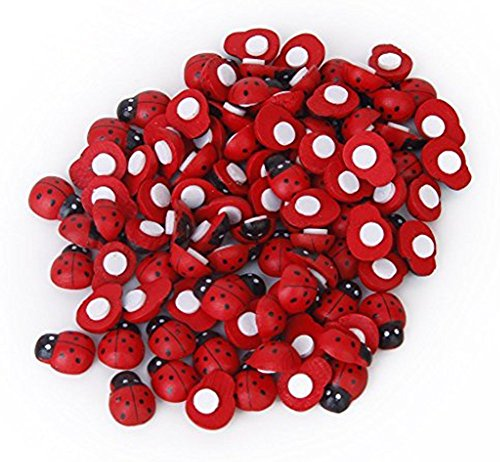 Preisvergleich Produktbild Hosaire, kleine Marienkäfer, niedlich, rot, bemalt, aus Holz, selbstklebend, zum Basteln / Dekorieren, 100 Stück