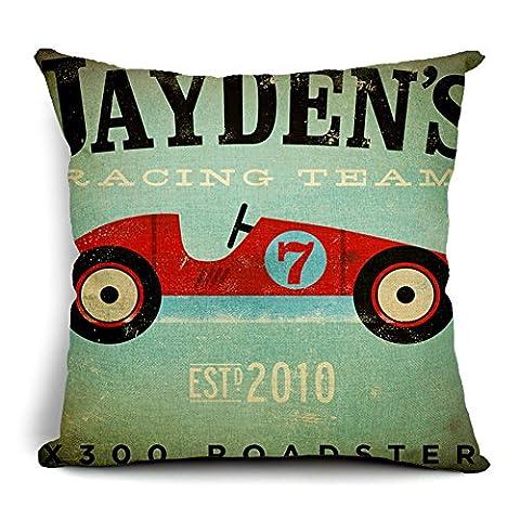 Poens Dream Housse de Coussin, Retro Vintage Car Printed Cotton Linen Decorative Pillow Cushion Cover, 17.7 x 17.7inches