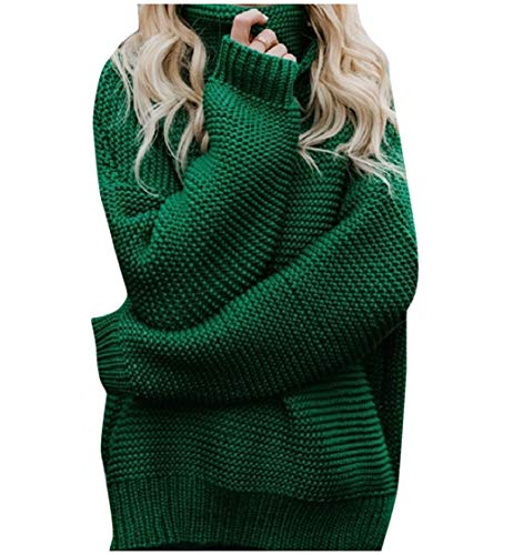 CuteRose Women Turtleneck Winter Pure Color Plus Size Relaxed Sweater Top Green L (Wool Pullover Crewneck Green)