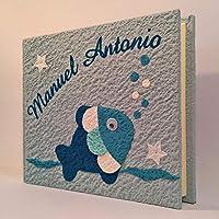 Album fotografico artigianale PESCIOLINO in carta luna con nome INTAGLIATO in tela personalizzabile regalo NASCITA BATTESIMO COMPLEANNO VACANZE BAMBINO