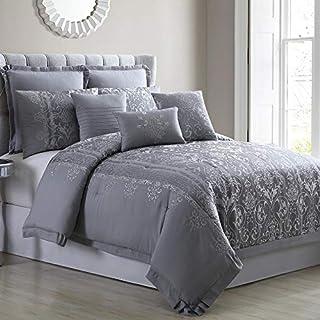 Amrapur Overseas 8-Piece Jacquard Vincenza Comforter Set, Queen, Grey