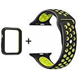 idudu Apple Watch Armband 38mm, Soft Silikon Sport Ersatz Uhrenarmbänder mit Case für Apple iWatch Serie 3/Serie 2/Serie 1