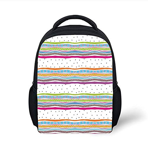 Kids School Backpack Striped,Abstract Wavy Stripes Polkadots Ribbons Bows Hearts Girly Patterned Artwork,Multicolor Plain Bookbag Travel Daypack -