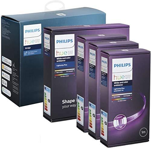Philips Hue LED LightStrip Plus 2m Starter Set + Bridge + 3x 1m Erweiterung = 5 Meter, RGBW Strip (separates Weisslicht), 16 Millionen Farben, app-gesteuert