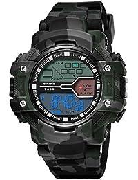 Reloj deportivo multifuncional militar para hombres, impermeable, diseño Bluetooth con números grandes en pantalla LCD digital con retroiluminación, reloj casual con podómetro, cuenta calorías para smartphone, gris, Sport
