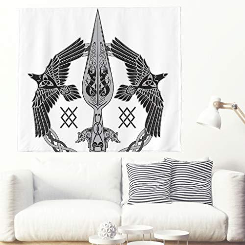 Tapiz de pared con diseño de cuervos celtas de un solo color, nudos vikingos complicados, decoración de pared, estilo étnico 200x150cm blanco
