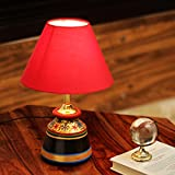 #3: ExclusiveLane 'Glowing Reds' Floral Hand-Painted Vessel Shaped Table Lamp In Terracotta-Indoor Lighting Decorative Gift Bedside Table Lamps for Living Room for Bedroom Modern Table Lamps Night Lamps