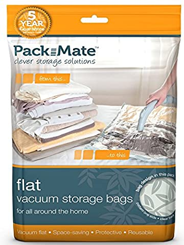 Packmate ® 2 Medium Flat Vacuum Compressed Space Saver Storage Bags (45 x 60cm) For Clothing, Duvets, Bedding & More