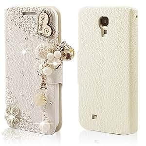 Schutzhülle 3D Bling Strass Flip Leder Schalen/Tasche Magnet PU Case für SmartPhone Samsung Galaxy S4 i9500 i9505 / S IV GT-i9500 Diamant Hülle Crystal Handy Cover Etui