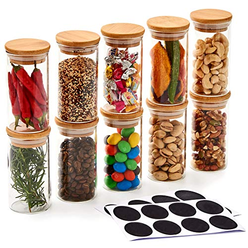 EZOWare 10er Set Glas Vorratsdosen, Kleine Vorratsgläser Lagerung Behälter aus Borosilikatglas mit Bambus Deckel und Kreidetafel-Etiketten, für Küche, Bad, Dekoration, Gewürze Aufbewahrung - 200 ml