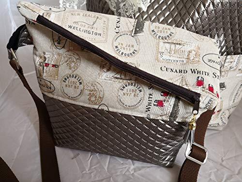 Bon Shopper (Ausgefallene Damen-Handtasche - Foldover - Gold Braun Kunstleder - Bon Voyage Neu)
