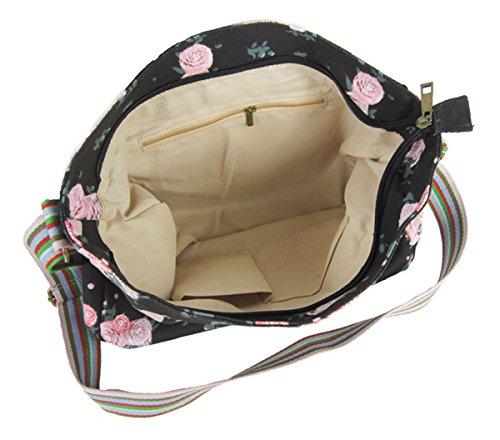 Kukubird Vari Animali E Fiore Crossbody Design Top-manico A Tracolla Del Totalizzatore black flower