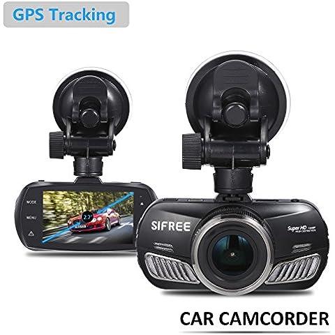 2016 2560x1440P camera car registratore del cruscotto di guida fotocamera HD FHD1080P, i veicoli costruiti Ambarella di chip A12 doppio motore Dash telecamere con visione notturna e GPS (2,7 pollici versione aggiornata) di monitoraggio