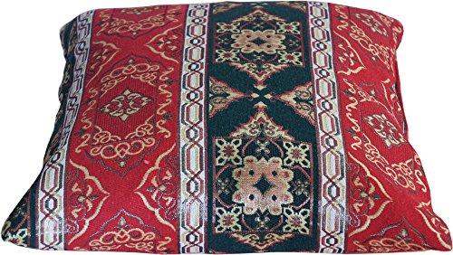 Qooltex Kissenbezug Orientalisch Kelim Optik Kissenbezüge für Orient Kissen Kissenhülle 11 Farbkombination und 7 Größen mit Reißverschluss RotGrün 60 x 60 cm
