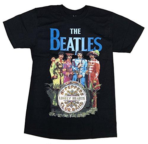 Camiseta negra manga corta con imagen de Sgt Peppers de Los Beatles, oficial Negro negro Talla única