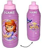 """Trinkflasche / Sportflasche - auslaufsicher - """" Prinzessin Sofia the First / die Erste """" - incl. Name - aus Kunststoff - 400 ml - für Kinder Kunststoffflasche - 0,4 Liter / Flasche - Plastik - Mädchen / Fahrradflasche - Prinzessinnen lila / Blumen - Trinklernflasche - Kinderfahrradflasche - Kindertrinkflasche / Plastikflasche"""