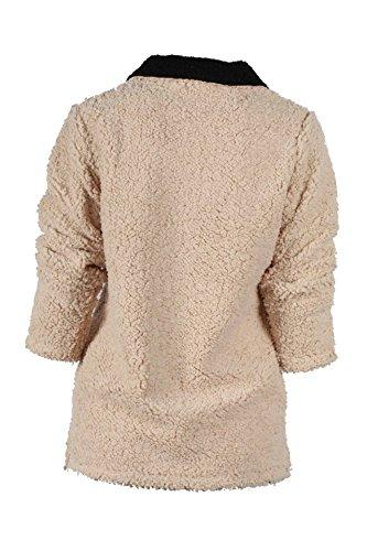 Felpa Donna Sportiva Elegante Autunnale Invernale Caldo Vintage Manica Lunga V Scollo Con Cerniera Sciolto Giovane Fashion Casual Maglia Pullover Sweatshirt Tops Khaki
