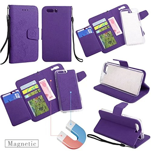Abnehmbare 2 in 1 Premium PU + TPU Ledertasche geprägt Blumen Stil Glitzer Sparkles Brieftasche Stand Case Cover mit Kreditkarte Slots & Lanyard & Magnetic Closure für Huawei P10 ( Color : Rose-gold ) Purple