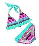 [Bikini Kinder M䤣hen] 2tlg Neckholder Bunte Bikini Tankini Set Baby Schwimmanzug Badeanzug Bademode  , Blau , 152