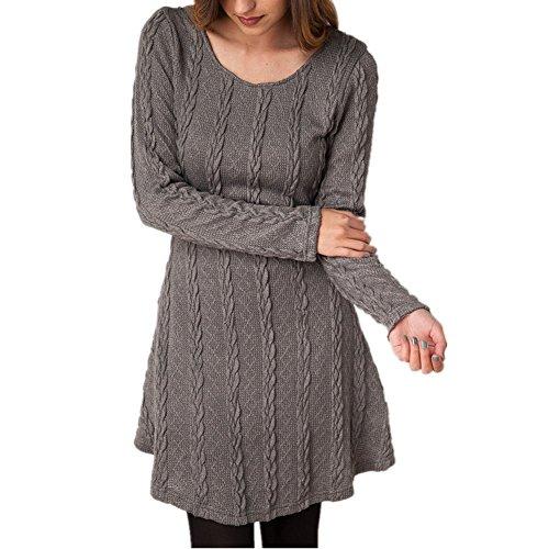 Oderola Damen A-Line Kleid Stricken Chiffon Lace Langarm Jumper Mini Kleid Pullover Strickkleider