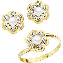 70a87a9df416 Iyé Biyé Jewels Conjunto niña mujer oro amarillo 18 ktes 1ª Comunión anillo  y pendientes flor