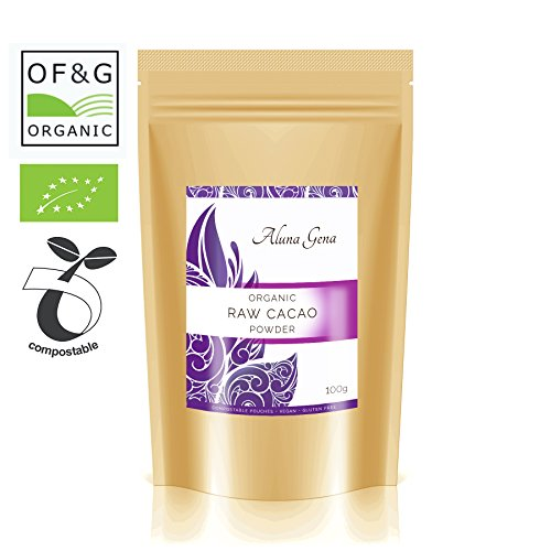 Organic Raw sopra creolo Cacao Powder by Aluna Gena - 100 g-Premium Quality & Sustainably Grown Beans from David Wolfe