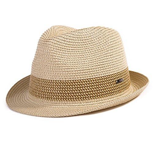 SIGGI Sommerhut beiger Sonnenhut Panama Webart Stroh Fedora Hut mit Sonnenschutz (Für Jungen Fedora-hut)