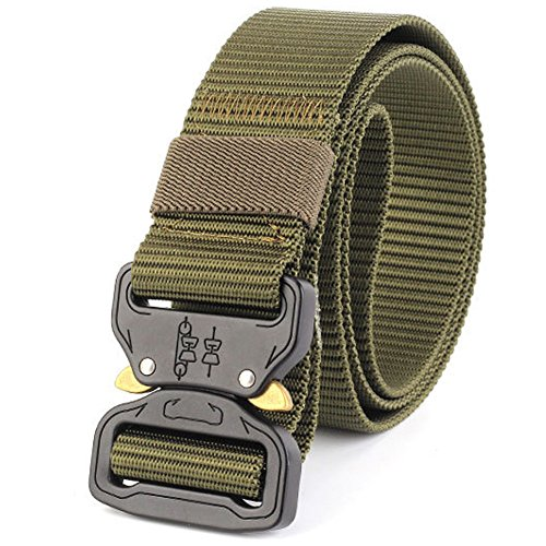 QX Tactical Belt for Men, Military Style Belt Resistant Metal Belt for Quick Release (Army Green)