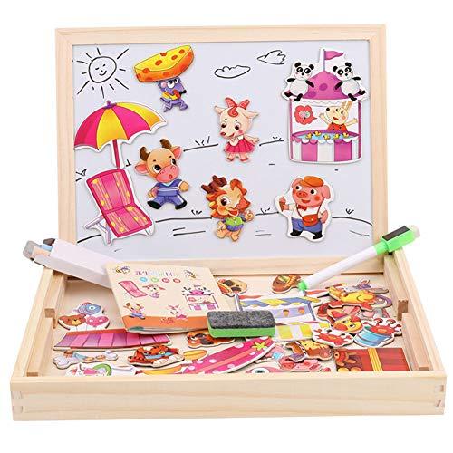 Qys Magnetische Puzzles Pädagogisches Holzspielzeug Kühlschrankaufkleber für Kinder 3 4 5 Jahre alt Doppelseitige magnetische Zeichen- und Schreibtafel mit Stift,3 -