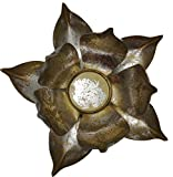 Trimontium TL12601 Kerzenhalter aus Metall in Form Einer offenen Lotusblüte, Durchmesser 21 cm, Info, Silber/Gold