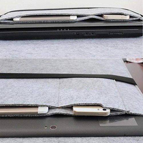 Moollyfox Custodia Per Macbook Air 11/13/14/15 Pollici In Feltro Grigio Chiaro